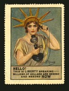 USA poster of stamp with Liberty holding a telephone