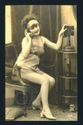 Model posing with a telephone