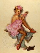 Model with Pink Feather Boa