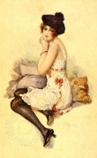 Model in Petticoat and Stockings