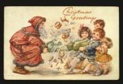Father Christmas pulls a cracker with children