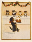Cats welcome the Chistmas pudding