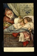 Father Christmas peers at two sleeping children