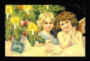 Angels on a Christmas postcard
