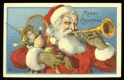 Father Christmas blows his trumpet