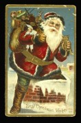 Father Christmas on a toffee tin top