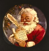 A Jolly Father Christmas on a toffee tin top