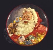 Father Christmas with his sack on a toffee tin top