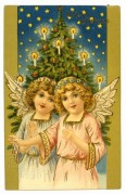 Two Angels with a Christmas Tree