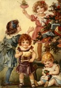 Children play with their Christmas Toys