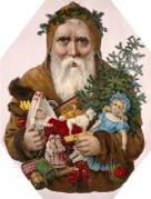 Father Christmas with a collection of Toys