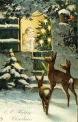 Christmas Card with Deer in the Snow