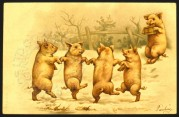 Four pigs dancing plus one playing the pipes